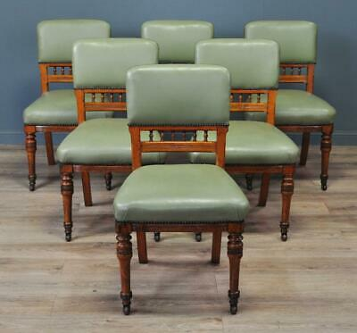 Attractive Set Of Six Antique Victorian Turned Oak & Green Vinyl Dining Chairs