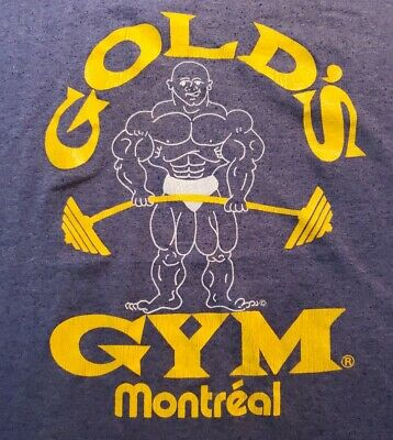 ec6640e68 VTG GOLDS GYM T-SHIRT MONTREAL Large Blue Body Building weightlifting  workout