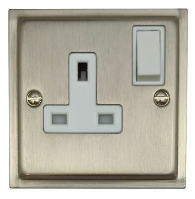 G&H HSN9W Highline Plate Satin Nickel 1 Gang Single 13A Switched Plug Socket