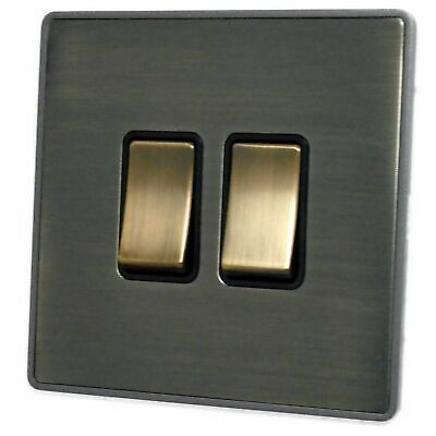 G&H LAB302 Screwless Antique Bronze 2 Gang 1 or 2 Way Rocker Light Switch