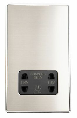 G&H LSS30B Screwless Brushed Steel Dual Voltage Shaver Socket 115-230V