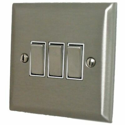 G&H SSS203 Spectrum Plate Stainless Steel 3 Gang 1 or 2 Way Rocker Light Switch