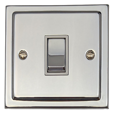 G&H TC201 Trimline Plate Polished Chrome 1 Gang 1 or 2 Way Rocker Light Switch