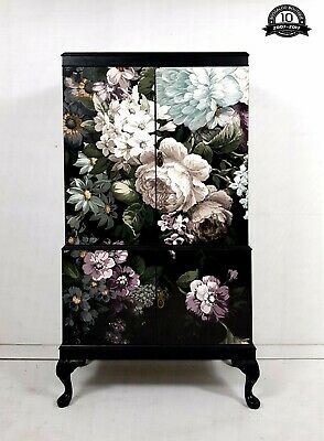 Stunning Professionally Upcycled Vintage Cocktail Cabinet Dark Floral Paper