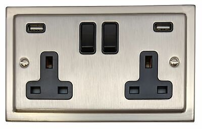 G&H TSN910B Trimline Matt Chrome 2 Gang Double 13A Switched Plug Socket 2.1A USB