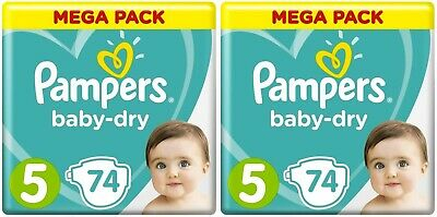 Lot 148 Couches PAMPERS BABY-DRY Taille 5 de 11 à 16 kg Mega Pack