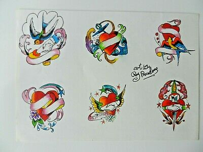 vintage hand coloured tattoo flash design sheet roy proudlove NOT MACHINE