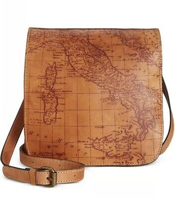 NWT Patricia Nash Granada Leather Xbody Purse Bag Map Print Rust S1433018 $129