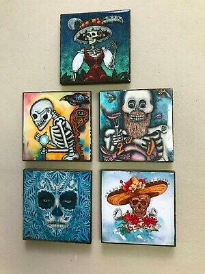 Wood Magnets ,Day Of The Death,Wholesale Set Of 5  Magnets ,Coasters Mexico  #3
