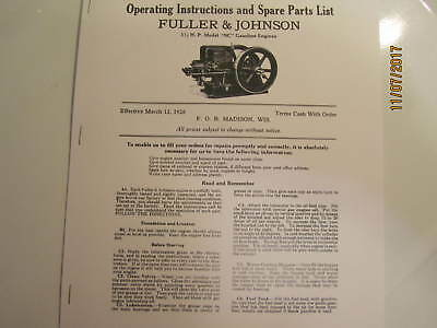 1928 3 1/2HP NC Fuller Johnson  Gas Engine Operating Instructions/Parts Manual
