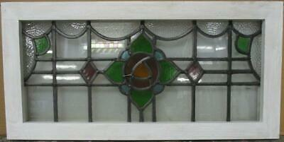 "OLD ENGLISH LEADED STAINED GLASS WINDOW TRANSOM Bordered Floral 28.25"" x 14"""