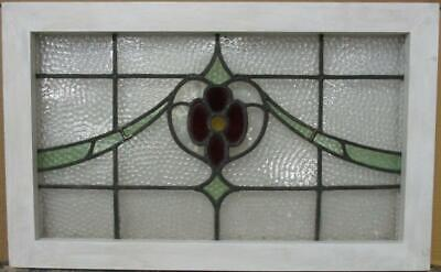 "OLD ENGLISH LEADED STAINED GLASS WINDOW TRANSOM Pretty Floral Sweep 27"" x 16.75"""