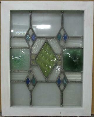 "MIDSIZE OLD ENGLISH LEADED STAINED GLASS WINDOW Stunning Diamonds 18.25"" x 23"""