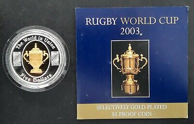 2003 Australia Rugby World Cup 1 oz Silver (.999) Proof $5 coin