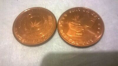 1 Ounce .999 Copper Coins(2 Coins) Legalize Pot
