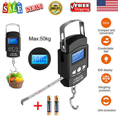 50KG LCD Digital Travel Fish Luggage Hanging Hook Measuring Tape + Weight Scale