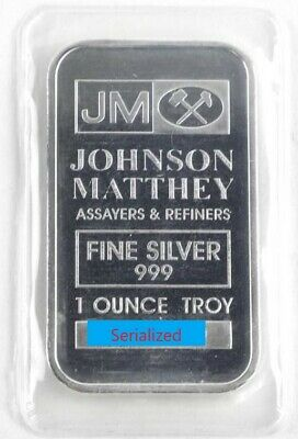 1 oz 999 Fine Silver JM Johnson Matthey Silver Bar Serialized No Longer Produced
