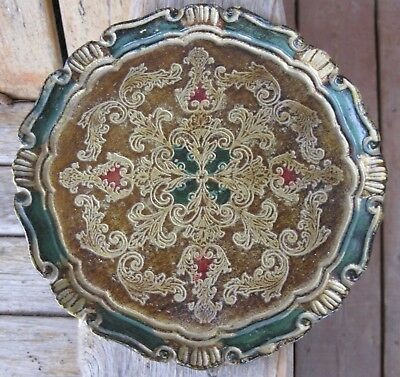 Vintage Shabby Italy Gold Wood Gesso Tray Weathered Green Farmhouse Chic Rustic