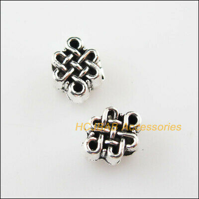 25Pcs Tibetan Silver Tone Chinese Knot Charms Spacer Beads 6.5x8.5mm