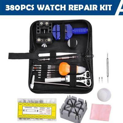 380pcs Watch Repair Tool Kit Opener Link Remover Spring Bar Hammer + Back Case
