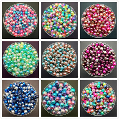 4/6/8mm Colorful Acrylic Round Pearl Spacer Loose Beads DIY Jewelry Making-WI