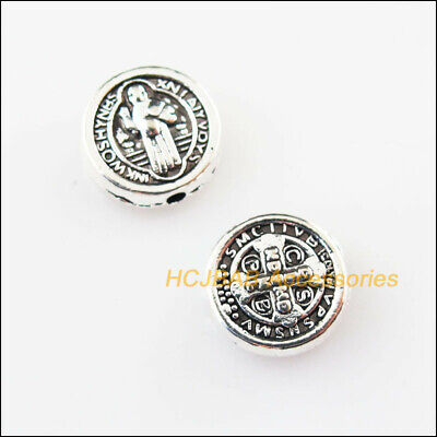15Pcs Tibetan Silver Tone Round Jesus Spacer Beads Charms 9.5mm