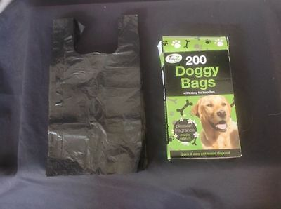 400 Dog Poo Bags, poop, pet puppy scented, black, disposable, waste Free Post