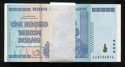 Pack Of (100) 2008 100 Trillion Dollars Reserve Bank Of Zimbabwe, Aa P-91 Unc