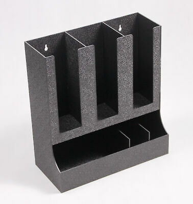 Cup, Lid Condiment Organizer, 6 Compartments, Tabletop or Wall Mount - Black