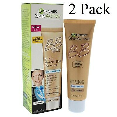 2er Pack Garnier Skinactive 5-in-1 Miracle Skin Perfector BB Creme Light Medium