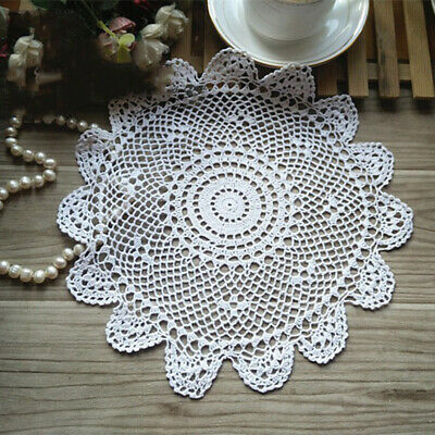 UK White Vintage Hand Crochet Lace Doilies Round Cotton Table Mats Decor 30cm