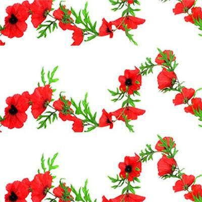 Artificial Poppy Flame Red Garland - X3 - Remembrance Day Decorative Flowers