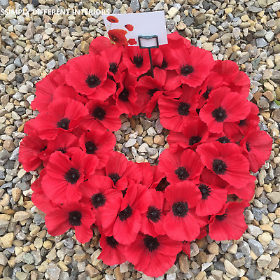 Artificial Poppy Wreath Remembrance Sunday Faux Silk Poppies Grave