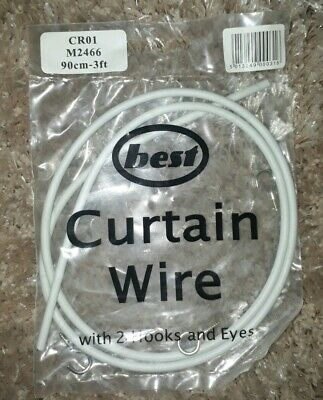 Curtain Wire White Voiles Window Net Cord Cable With 2 Hook and Eye