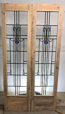 Art Deco Stained Glass Doors Antique Period Reclaimed Old French Wooden Lead 2