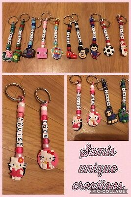 PERSONALISED HANDMADE BEAD KEYRINGS ANY NAME SCHOOL PARTY BAGS Posted