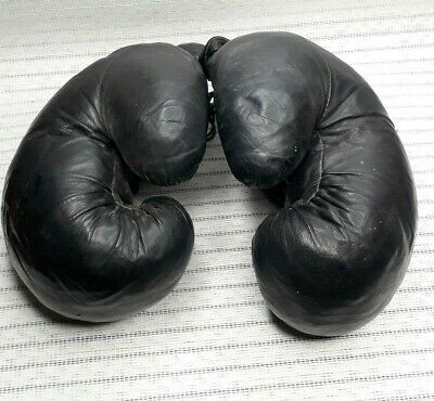 1950s Boxing Gloves Russian Vintage Soviet SPORT Leather-dark-brown box USSR