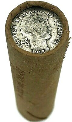 Vintage Barber Dime on Antique Wheat Penny Roll Collection Estate Sale Hoard Lot