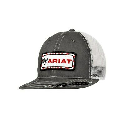 more photos 659cc e7f48 Ariat Mens Grey and White With Center Patch Mesh Back Snapback Cap
