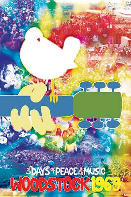 Woodstock 1969 Tye Dye Collage 24 x 36 Classic Music Concert Poster