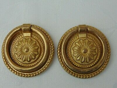 Pair Reclaimed Vintage French Ornate Round Brass Drawer Handles With Ring Pull