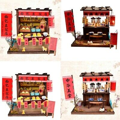 DIY Wooden Dollhouse Miniature Kit, Breakfast Store & Pulled Noodles Shop