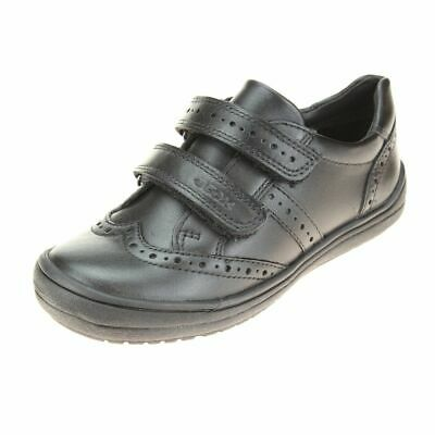 Geox Hadriel Girls Black School Shoe size eu kids children hook loop leather