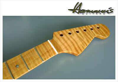 Stratocaster One Piece Roasted Flamed Maple Neck mit Abalon Dots, 22 Frets++**