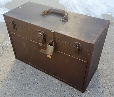 Vtg Kennedy Machinist's Chest 7 Drawer Square Toolbox Storage Case with Padlock