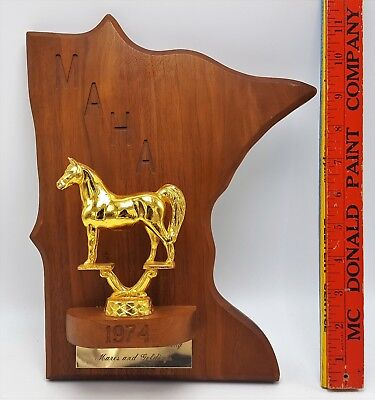 VTG 1974 MAHA Minnesota Arabian Horse Association Mares Geldings Plaque Trophy