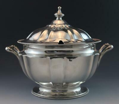 Antique Silver Plate Soup Tureen NeoClassical Style by Poole Silver Co. Beaded