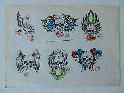 vintage hand coloured  tattoo flash design sheet CANNONE 1981 NOT MACHINE