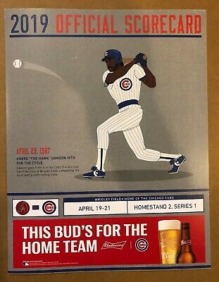 Chicago Cubs  2019 Scorecard Vs Angels Mike Trout Andre Dawson Hits For Cycle