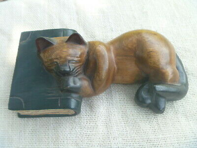 "Carved Wood Napping Sleeping Cat w Head on Book 10"" Wooden Folk Art Figurine"